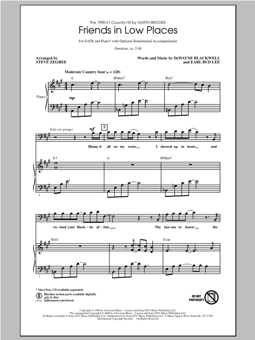 Friends In Low Places (SATB Choir)