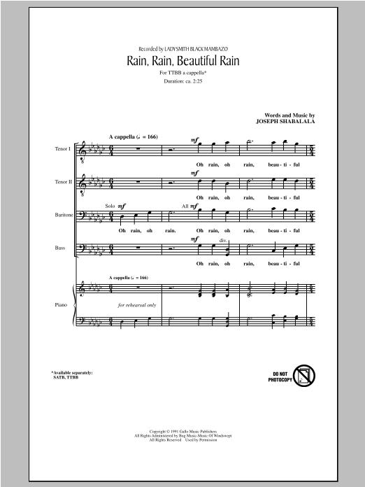 Rain, Rain, Beautiful Rain (TTBB Choir)