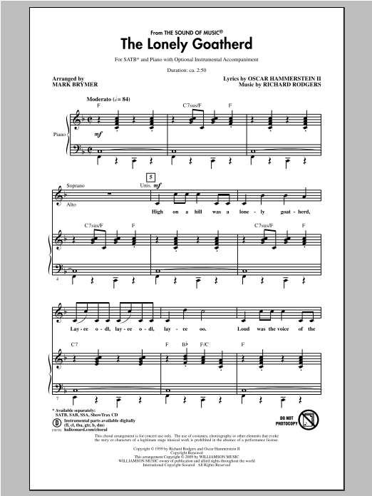 Partition chorale The Lonely Goatherd de Rodgers & Hammerstein - SATB