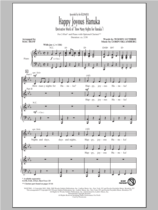 Happy Joyous Hanuka (arr. Mac Huff) Sheet Music