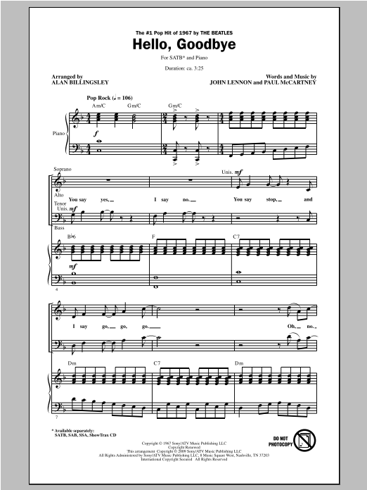 Partition chorale Hello, Goodbye de Alan Billingsley - SATB