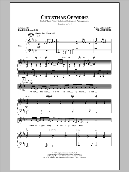 Christmas Offering Sheet Music