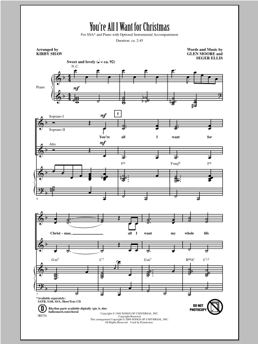 You're All I Want For Christmas (arr. Kirby Shaw) Sheet Music