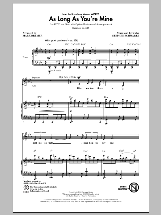 As Long As You're Mine (from Wicked) (SATB Choir)