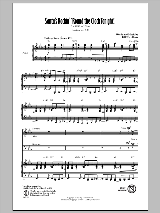 Santa's Rockin' 'Round The Clock Tonight! Sheet Music