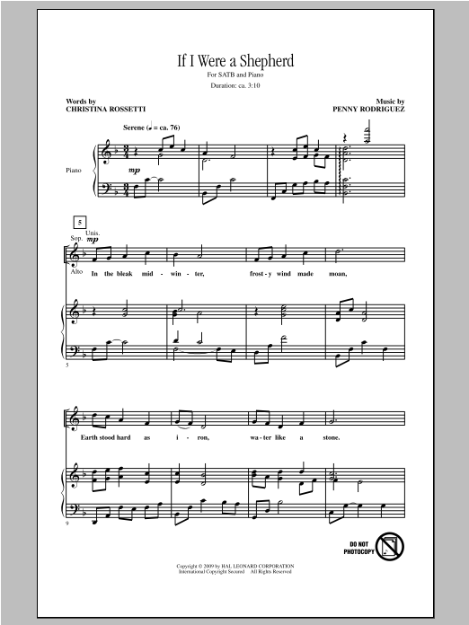 If I Were A Shepherd Sheet Music
