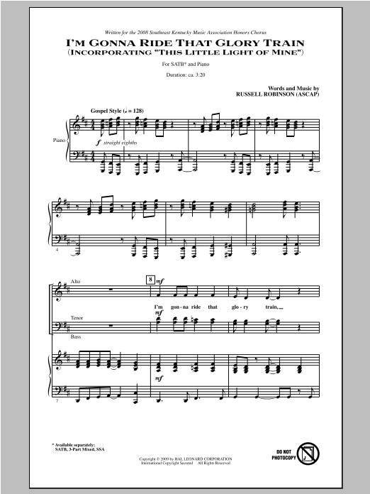 Partition chorale I'm Gonna Ride That Glory Train de Russell Robinson - SATB