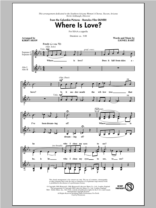 Where Is Love? (arr. Kirby Shaw) (SSA Choir)