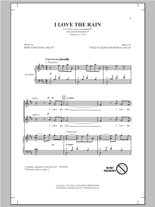 I Love The Rain Sheet Music