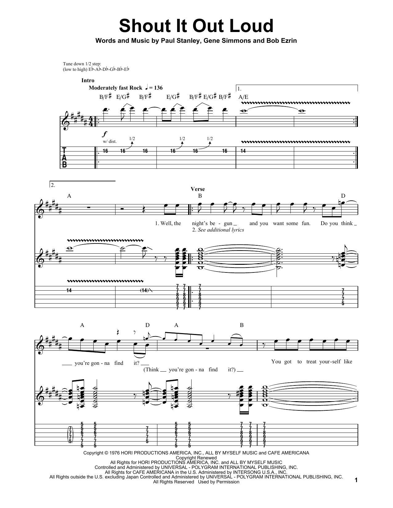 Tablature guitare Shout It Out Loud de Kiss - Playback Guitare