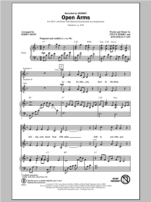 Open Arms (arr. Kirby Shaw) (SSA Choir)