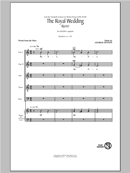 Partition chorale The Royal Wedding (Kyrie) de George Fenton - SATB