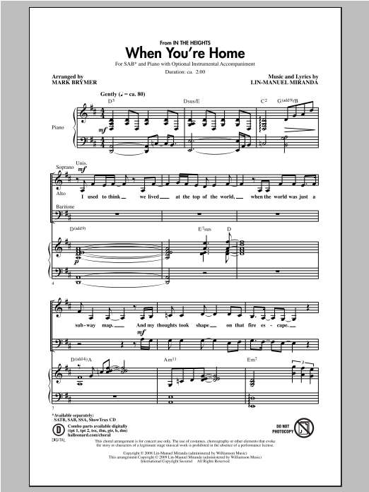 When You're Home (from In The Heights) (arr. Mark Brymer) Sheet Music