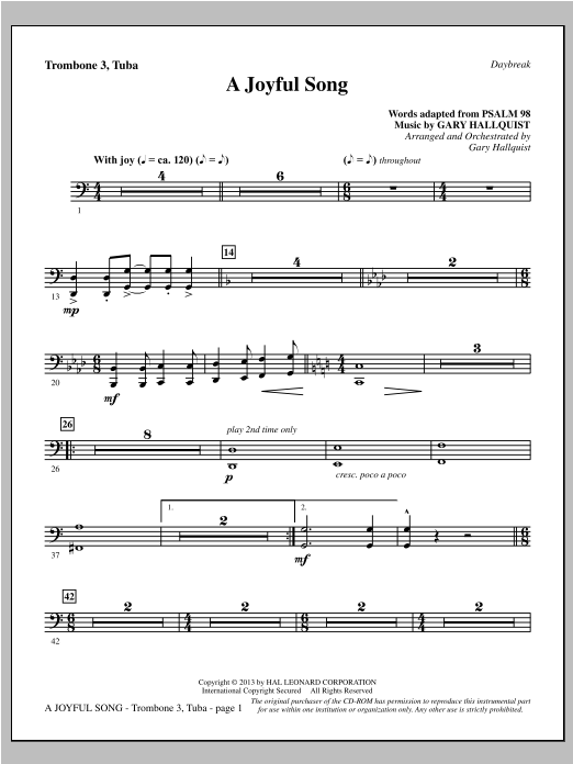 A Joyful Song - Trombone 3/Tuba Sheet Music