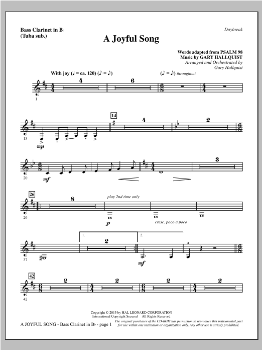 A Joyful Song - Bass Clarinet (sub. Tuba) Sheet Music
