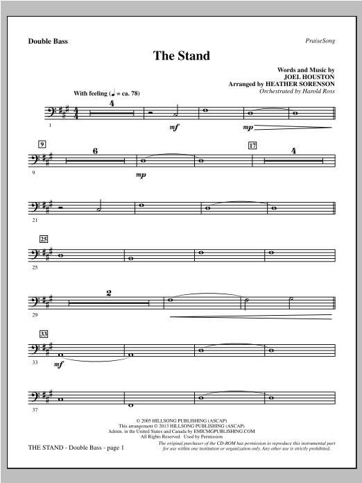The Stand - Double Bass Sheet Music