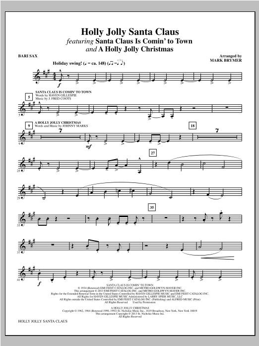 Holly Jolly Santa Claus - Baritone Sax (Choir Instrumental Pak)