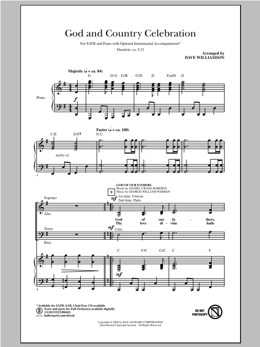 Partition chorale America, The Beautiful de Samuel A. Ward - SATB