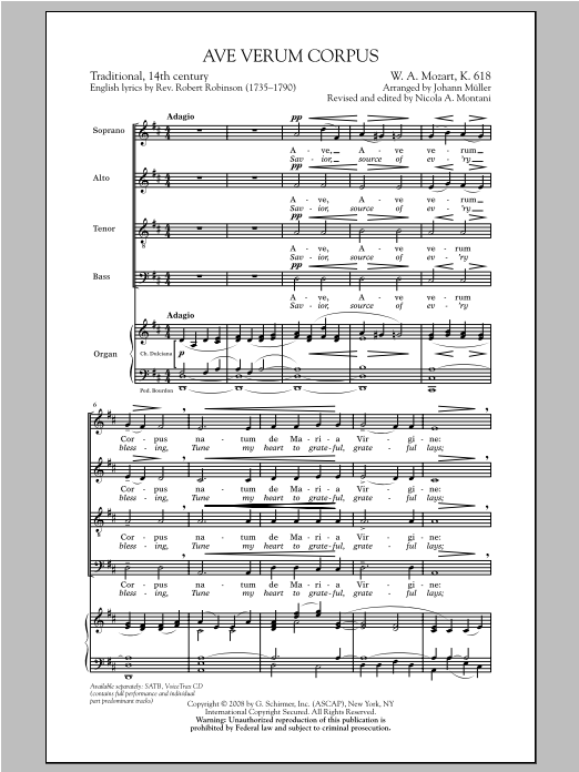 Partition chorale Ave Verum (Jesu, Word of God Incarnate) de J Muller - SATB