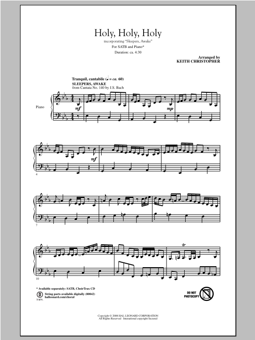 Partition chorale Holy, Holy, Holy de Keith Christopher - SATB
