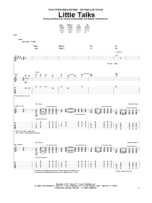 Tablature guitare Little Talks de Of Monsters and Men - Tablature Guitare