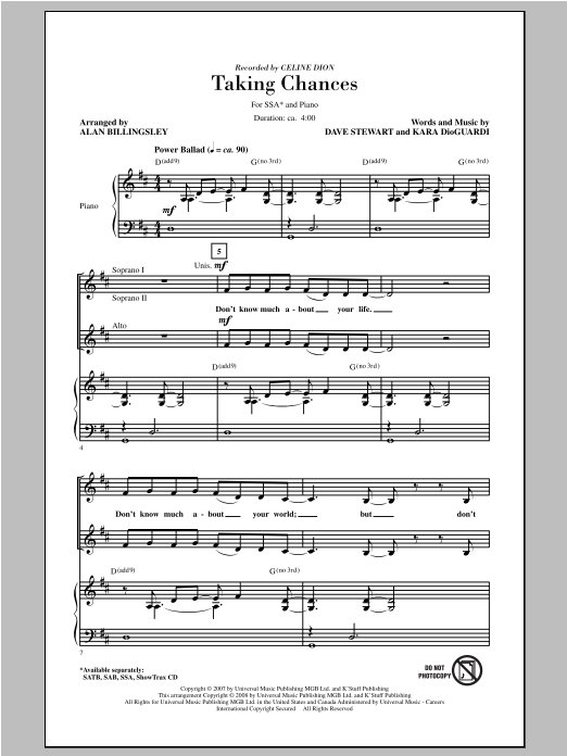 Taking Chances (arr. Alan Billingsley) Sheet Music
