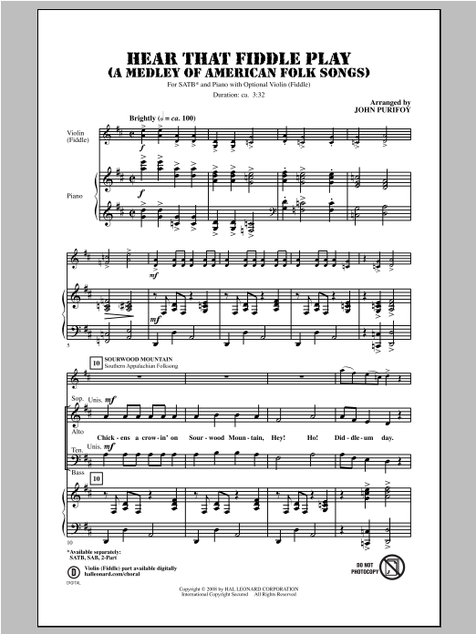 Hear That Fiddle Play (A Medley of American Folk Songs) Sheet Music