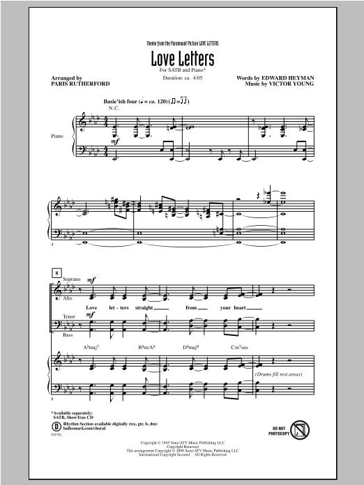 Partition chorale Love Letters de Paris Rutherford - SATB