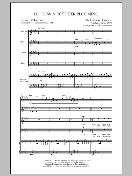 Partition chorale Lo, How A Rose E'er Blooming de Harold Rosenbaum - SATB