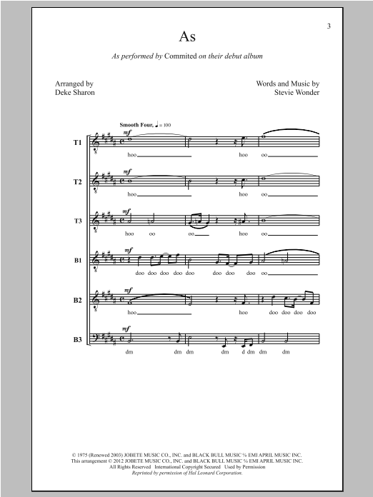 As (arr. Deke Sharon) Sheet Music