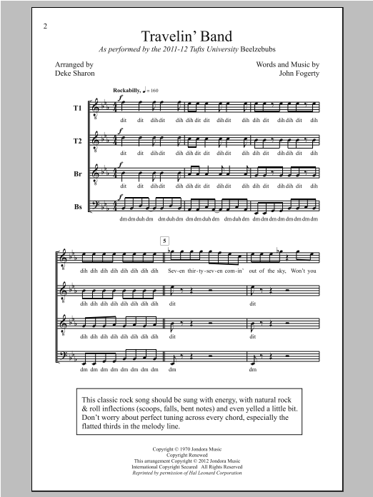 Travelin' Band (arr. Deke Sharon) Sheet Music