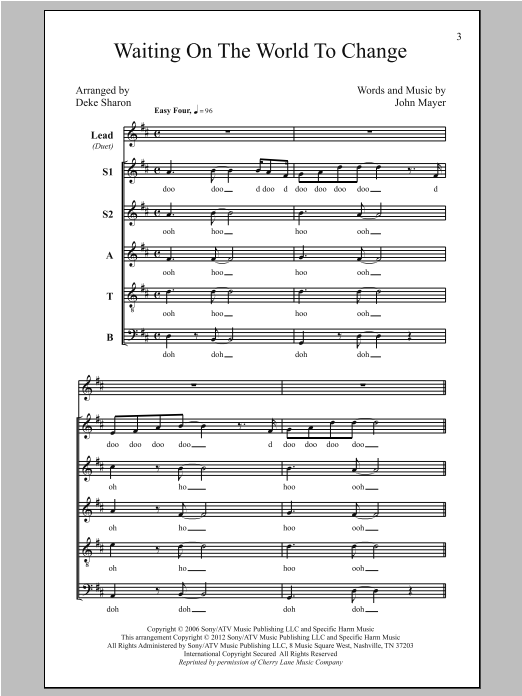 Partition chorale Waiting On The World To Change de John Mayer - SATB