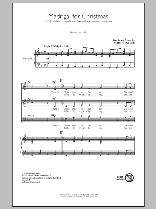 Madrigal For Christmas Sheet Music
