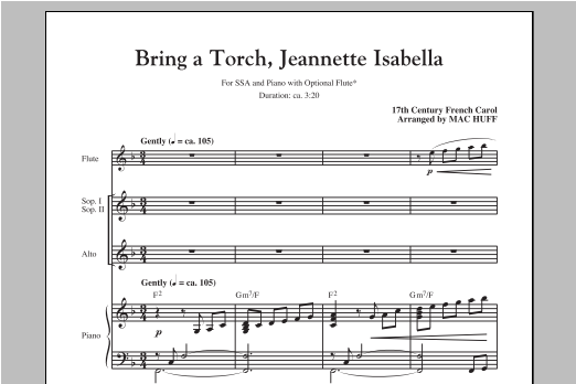 Partition chorale Bring A Torch, Jeannette, Isabella de Mac Huff - SSA