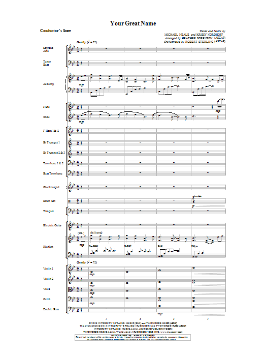 Your Great Name - Score Sheet Music