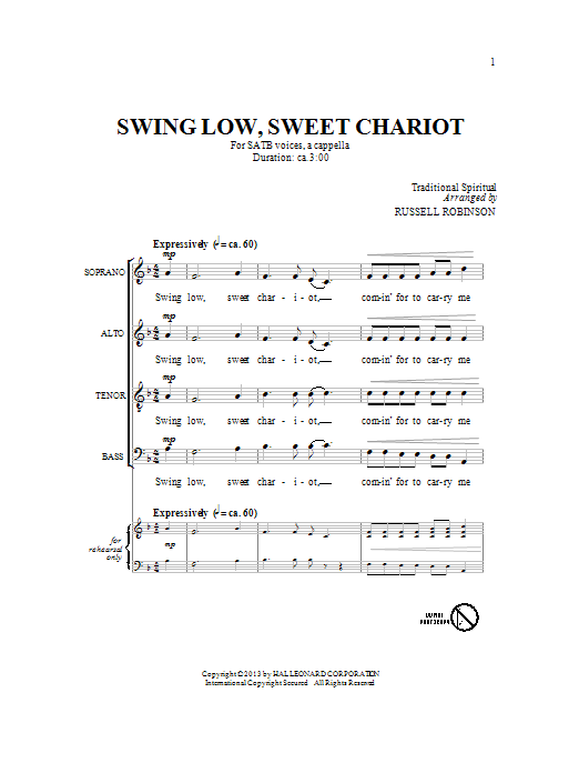 Partition chorale Swing Low, Sweet Chariot de Russell Robinson - SATB