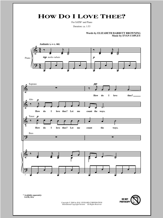 How Do I Love Thee? (SATB Choir)