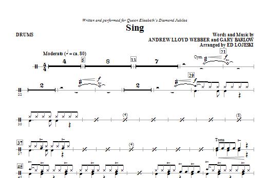 Sing (Queen Elizabeth Diamond Jubilee) - Drums Sheet Music