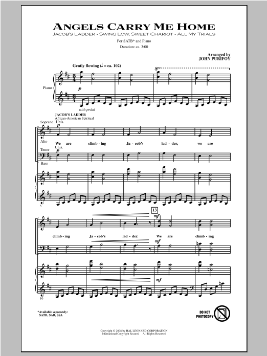 Partition chorale Angels Carry Me Home (Medley) de John Purifoy - SATB