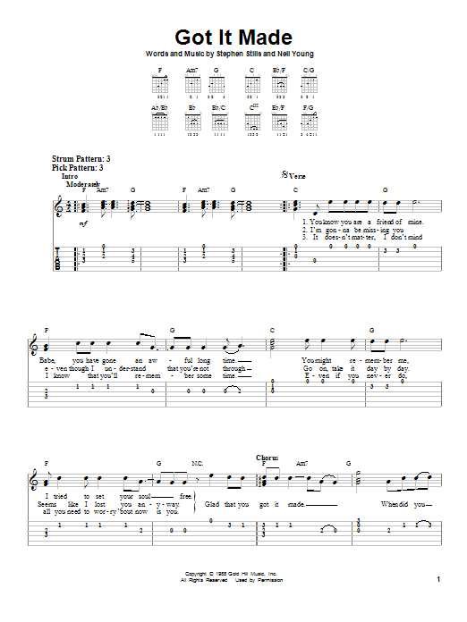 Tablature guitare Got It Made de Crosby, Stills & Nash - Tablature guitare facile