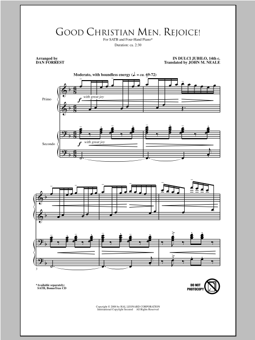 Partition chorale Good Christian Men, Rejoice de Dan Forrest - SATB