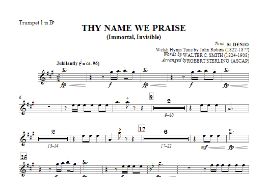 Thy Name We Praise (Immortal, Invisible) - Bb Trumpet 1 Sheet Music