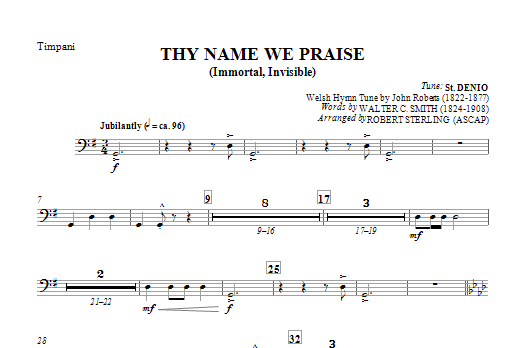 Thy Name We Praise (Immortal, Invisible) - Timpani Sheet Music