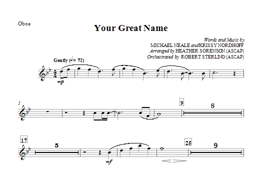Your Great Name - Oboe Sheet Music
