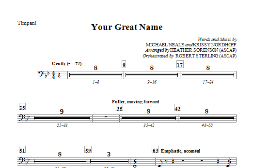 Your Great Name - Timpani Sheet Music