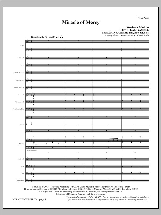 Miracle of Mercy (COMPLETE) sheet music for orchestra/band by Lowell Alexander, Benjamin Gaither and Jeff Silvey. Score Image Preview.
