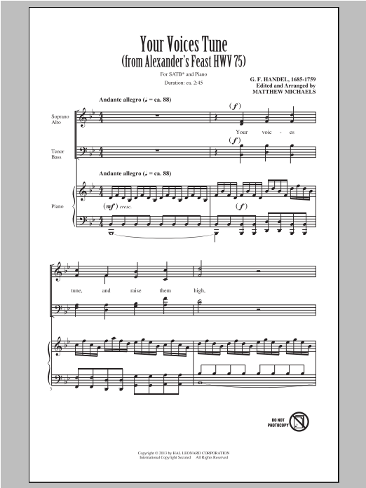Partition chorale Your Voices Tune (from Alexander's Feast) de Matthew Michaels - SATB