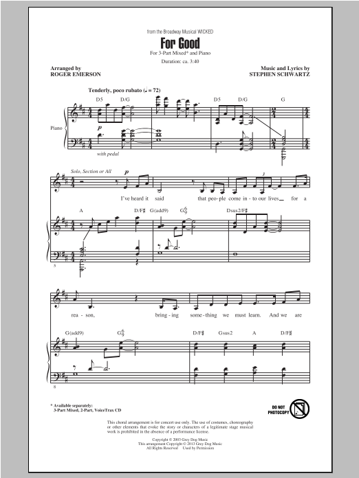 For Good (from Wicked) (arr. Roger Emerson) (3-Part Mixed Choir)