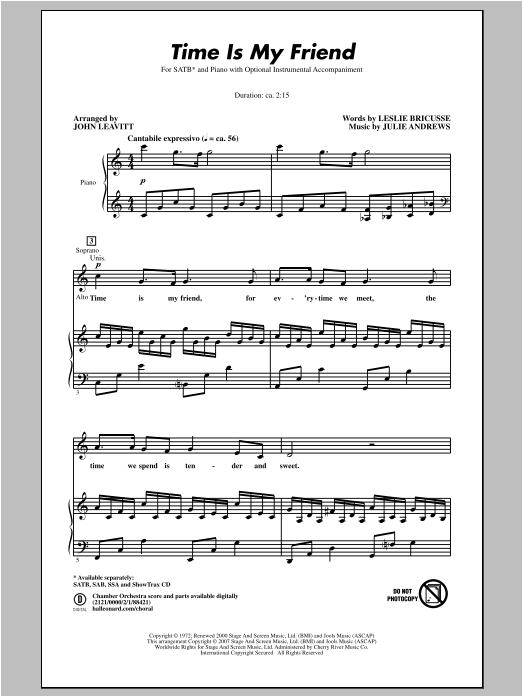 Partition chorale Time Is My Friend de John Leavitt - SATB