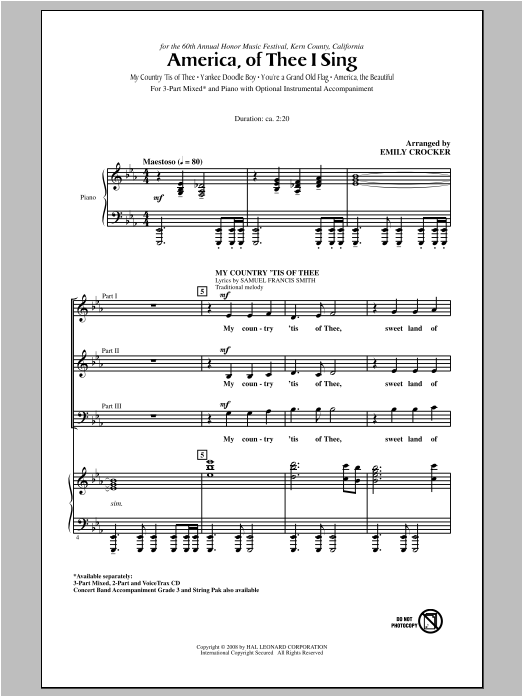 America, Of Thee I Sing Sheet Music
